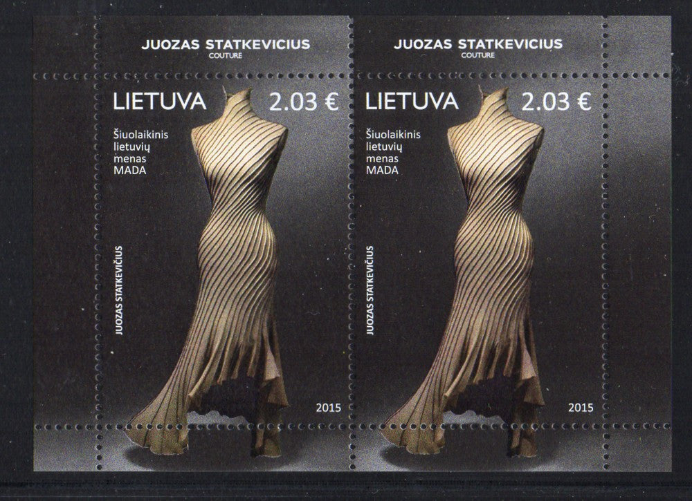Lithuania Sc 1056b 2015 Gown stamp sheet of 2 mint NH