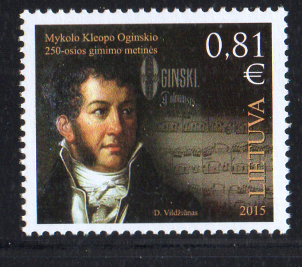 Lithuania Sc 1058 2015 Oginski  stamp mint NH