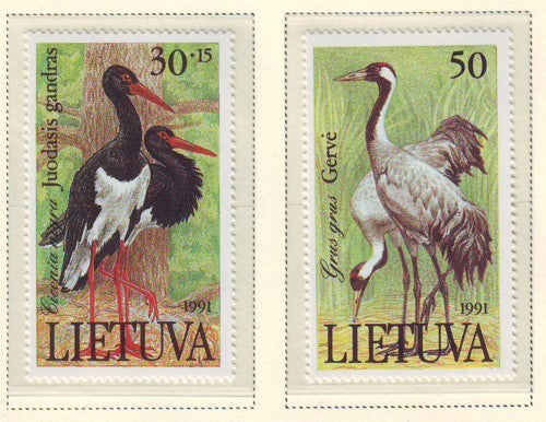 Lithuania Sc 403-4 1991 Birds stamp set mint NH
