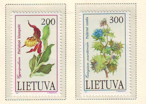 Lithuania Sc 425-6 1992 Flowers stamp set mint NH