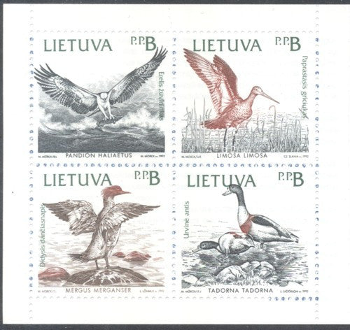 Lithuania Sc 430a 1992 Baltic Birds stamp booklet pane mint NH