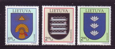 Lithuania Sc 945-7 2011 Coats of Arms stamp set mint NH