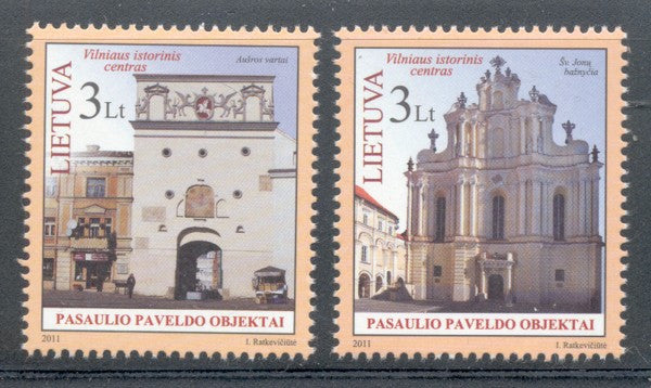 Lithuania Sc 952-3 2011 Vilnus UNESCO Heritage Site stamp mint NH
