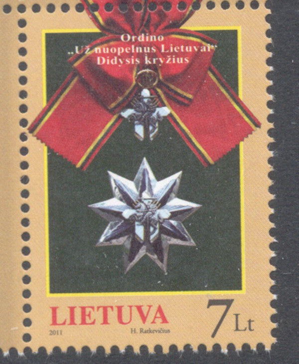 Lithuania Sc 957 2011 Grand Cross Order for Merit stamp mint NH