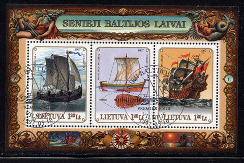 Lithuania Sc  572 1997 Old Baltic Ships stamp sheet used