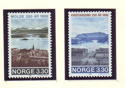Norway Scott  1026-7 1992 Town Anniversaries stamp set mint NH