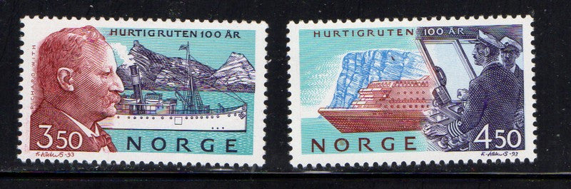 Norway Scott  1042-3 1993 Hurtigruten Line stamp set mint NH
