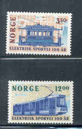 Norway Scott 1067-8 1994 Electric Trolleys stamp set mint NH