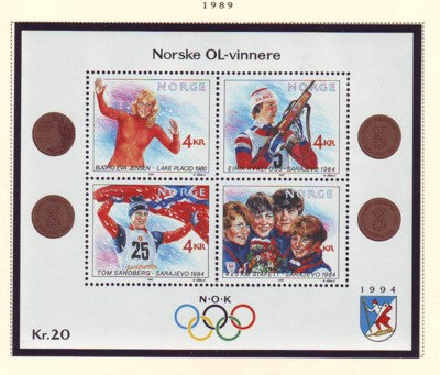 Norway Scott  946 1989 Olympic Medalists stamp sheet mint NH