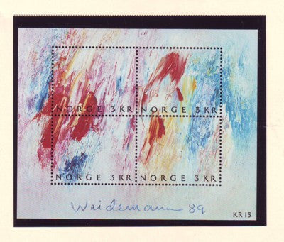 Norway Scott  947 1989 Stamp Day Painting stamp sheet mint NH