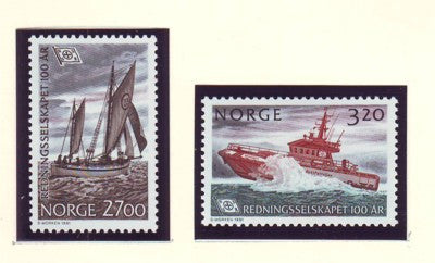Norway Scott  993-4 1991 Lifeboat Service stamp set mint NH