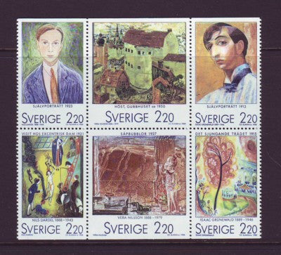 Sweden Scott  1699a 1988 Paintings stamp booklet pane mint NH