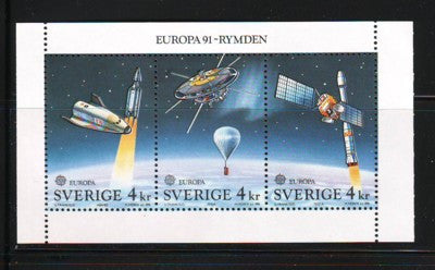 Sweden Scott  1893a 1991 Europa Space stamp booklet pane mint NH