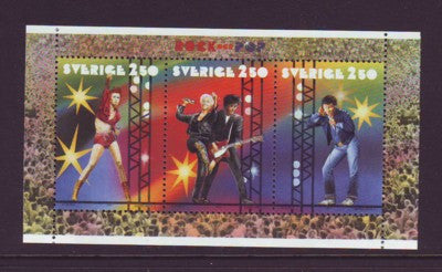 Sweden Scott  1909a 1991 Rock Musicians stamp booklet pane mint NH