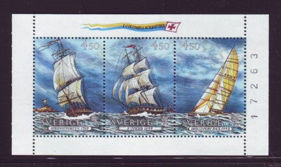 Sweden Scott  1948a 1992 Europa Ships stamp booklet pane mint NH