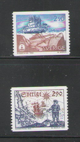 Sweden Sc 2032-3 1993 Hydrographic Survey stamp set mint NH