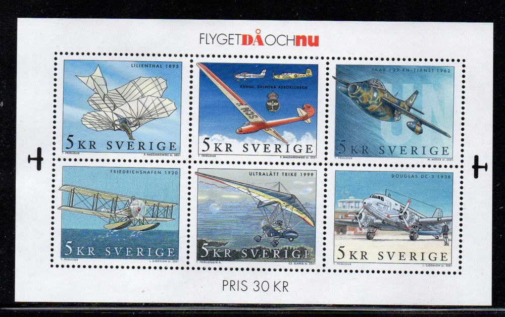 Sweden Scott  2421 2001 Airplanes stamp sheet mint NH
