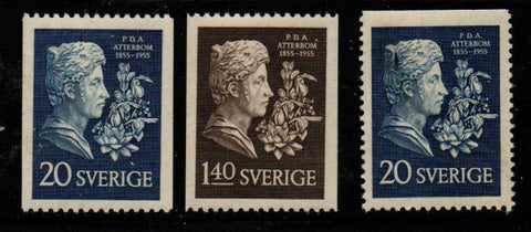 Sweden Sc  484-86 1955 Atterbom, Poet, stamp set mint NH