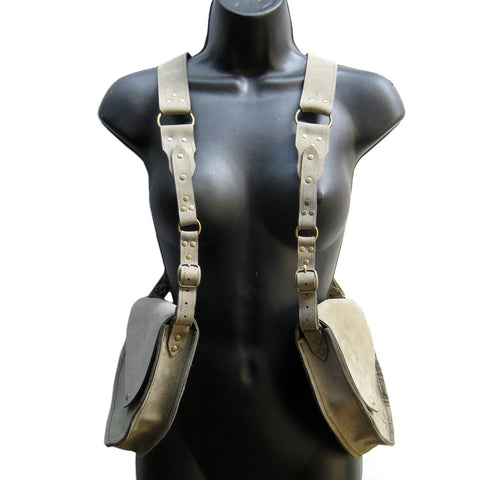 KING SLAYER Leather Holster Bag in Sage Gray & Antique Brass - 1
