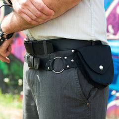 X-BAG Leather Double Pouch Hip Belt in  - 6