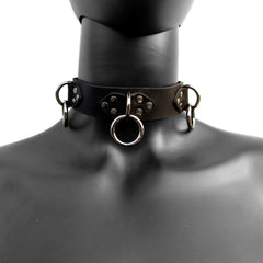 TRIPLE RING Leather Collar