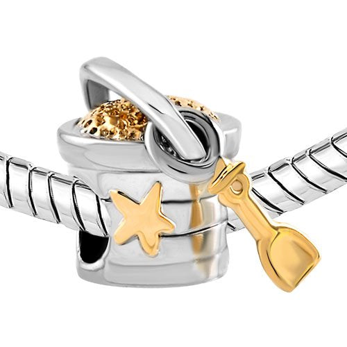 Valentine's Day Gifts Charm for Any European Bracelet Seashell Charm Gold Star Bucket and Shovel Kid's Charm Summer Charm - Creationtop
