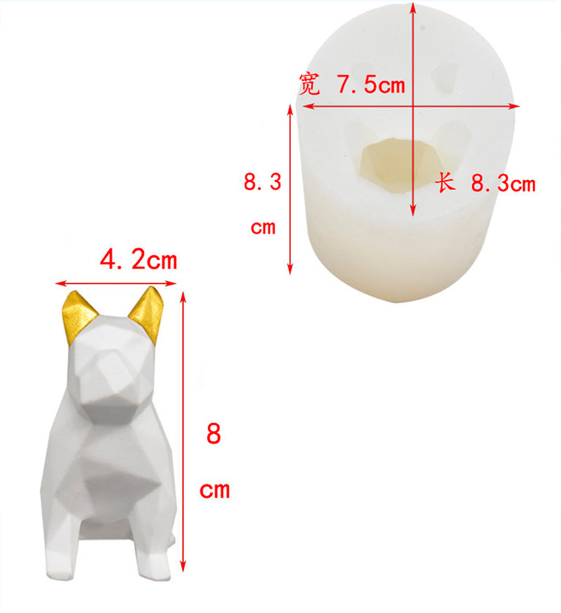 DIY 3D Geometry Dog Craft Art Silicone Candle mold Craft Molds Handmade Soap mold