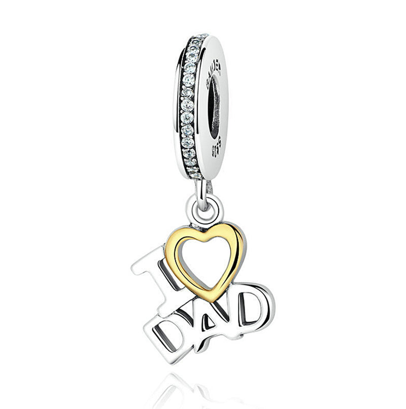 Christmas I Love Dad Heart Pendant Dangle Silver Charm 925 Sterling Silver fit for Authentic pandora and european bracelets