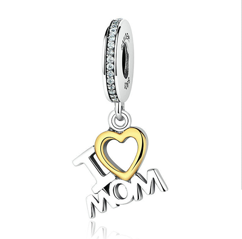 Christmas I Love Mom Heart Pendant Dangle Silver Charm 925 Sterling Silver fit for Authentic pandora and european bracelets