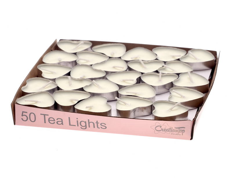 Scented Candles Tea Lights Mini Hearts Home Decor Aroma Candles Set of 50 pcs Mini Candles (White(Jasmine)