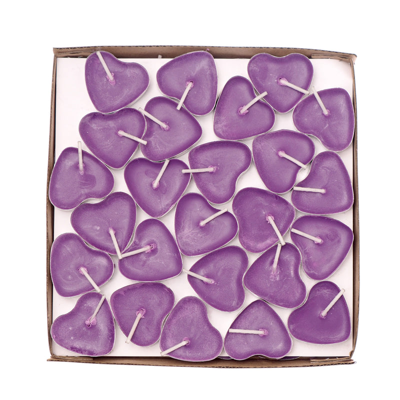 Scented Candles Tea Lights Mini Hearts Home Decor Aroma Candles Set of 50 pcs Mini Candles (Purple(BlackBerry)