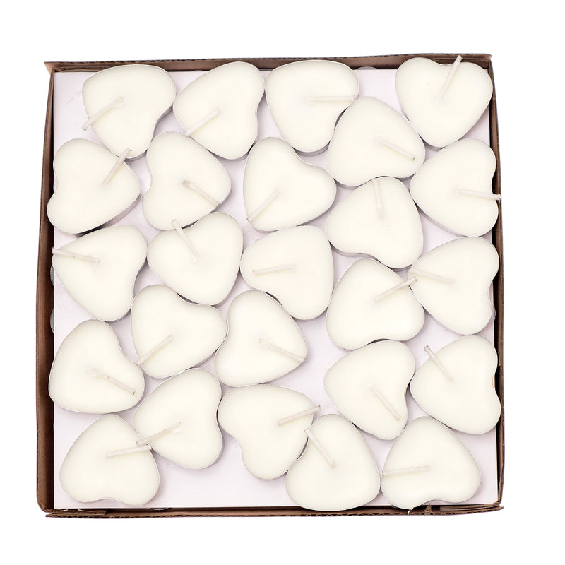Scented Candles Tea Lights Mini Hearts Home Decor Aroma Candles Set of 50 pcs Mini Candles (White(Musk)