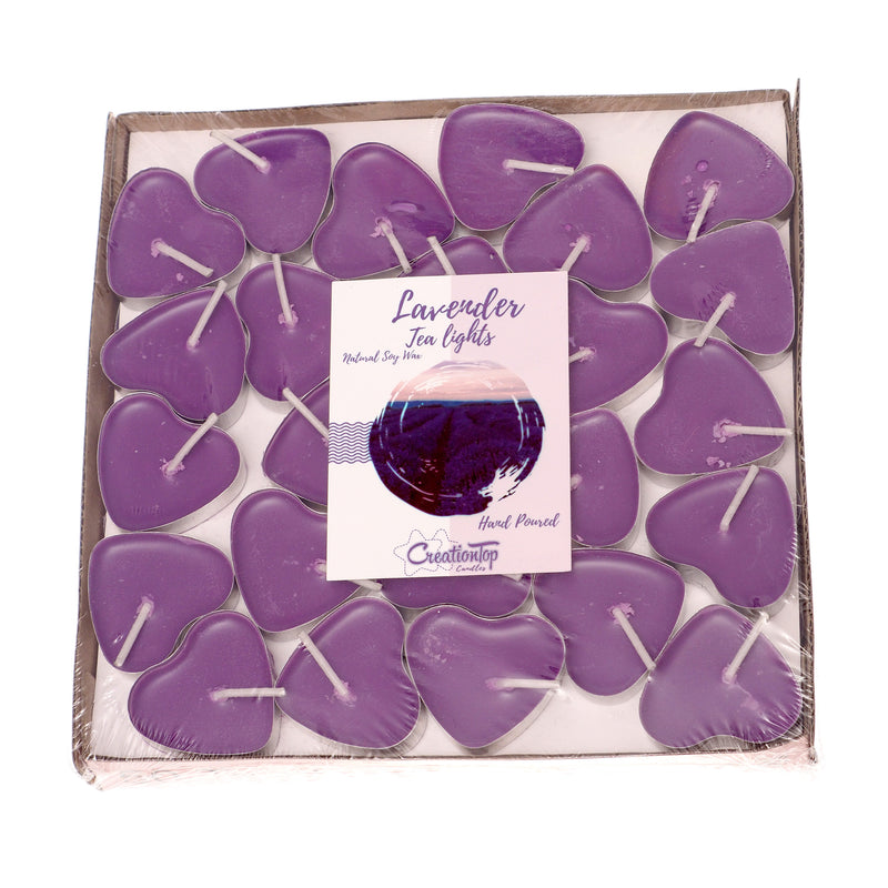 Scented Candles Tea Lights Mini Hearts Home Decor Aroma Candles Set of 50 pcs Mini Candles (Purple(Lavender)