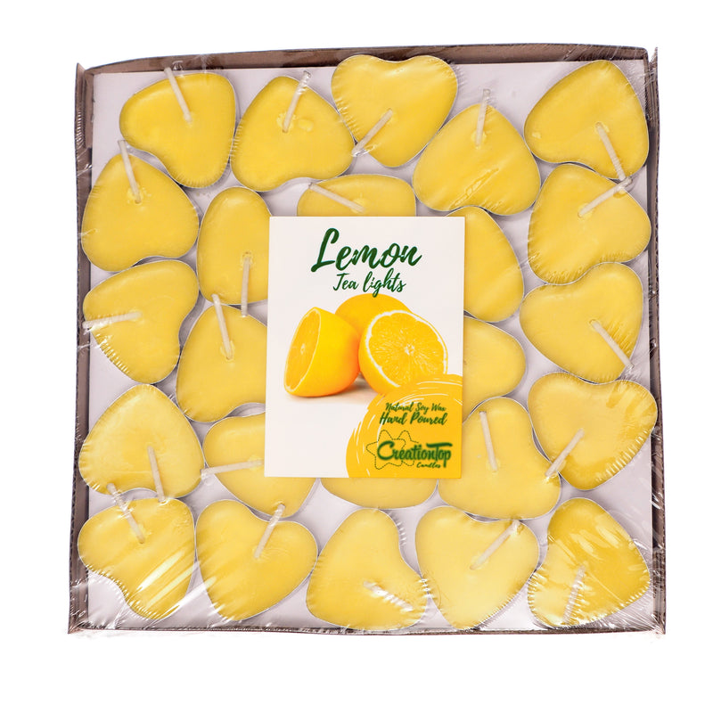 Scented Candles Tea Lights Mini Hearts Home Decor Aroma Candles Set of 50 pcs Mini Candles (Yellow(Lemon)