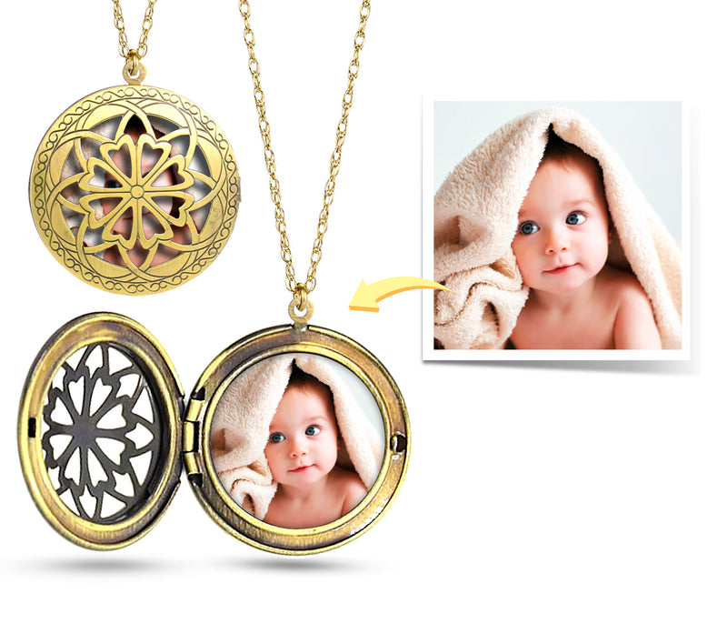 Personalized Custom Photo Locket Fillagree / Personalized Gift Antique Bronze / Custom jewelry / Custom Photo Necklace Kid Mom Grandma