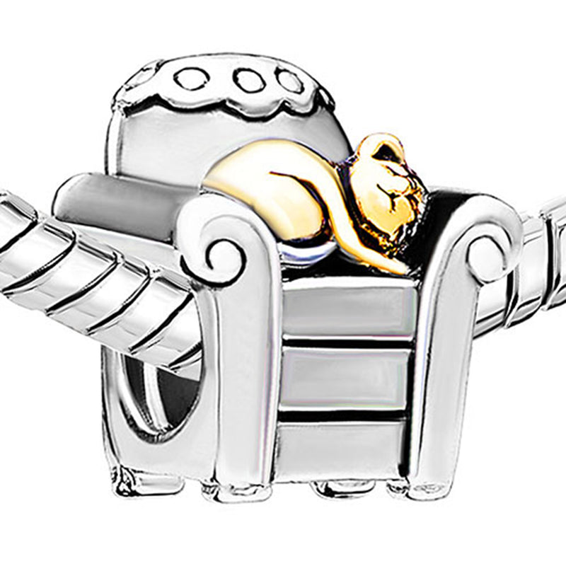 Lovely Cat in Chair Charm Silver Plated Beads Charms fit for Authentic pandora and european bracelets