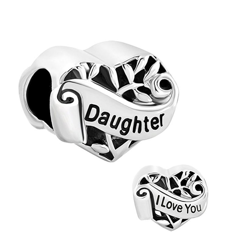 Heart I Love You Daughter Charm Silver Plated Beads Charms fit for Authentic pandora and european bracelets
