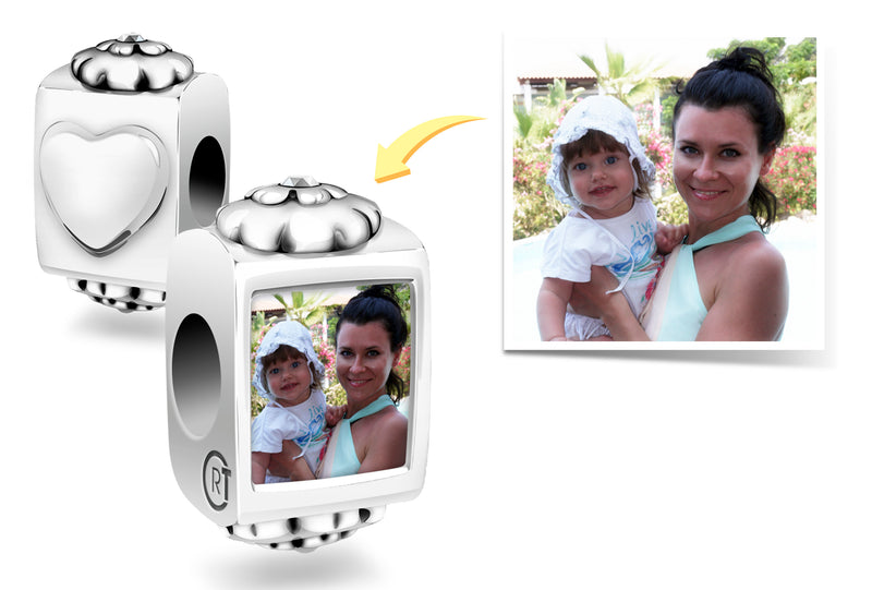 Mother's Day Gift Personalised Photo Bracelet Charm Custom Bracelet Photo Bracelet Photo Jewelry Pandora Charm Bracelet Authentic