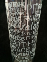 16 oz Glass Water Bottle Words of Life with Twist lid - Case Price - FREE SHIPPING!