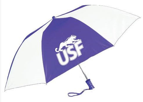 Storm Duds White and Purple Folding Umbrella
