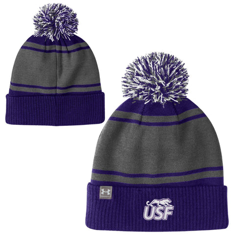Under Armour Striped Pom Beanie