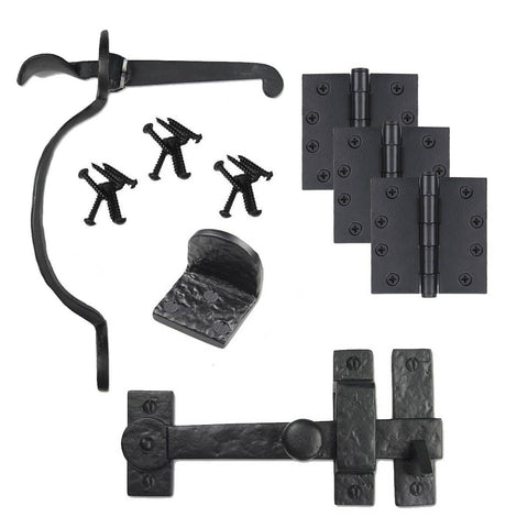 Cast Iron Bean Gate Kit - Drop Bar, Thumb Latch, Hinges, & Gate Stop
