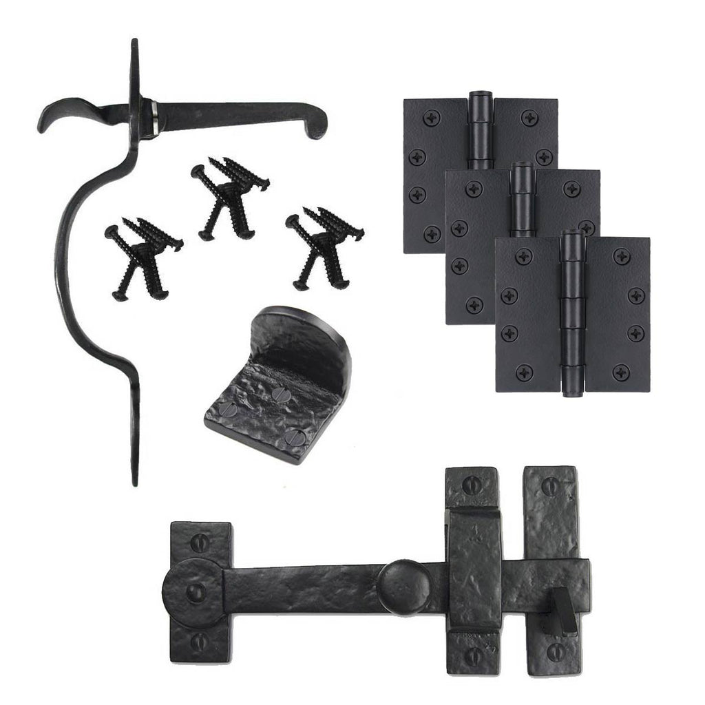 Cast Iron Heart Gate Kit - Drop Bar, Thumb Latch, Hinges, & Gate Stop