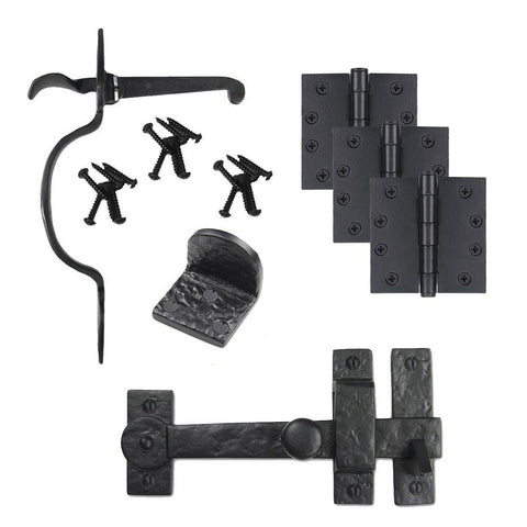 Cast Iron Spear Gate Kit - Drop Bar, Thumb Latch, Hinges, & Gate Stop