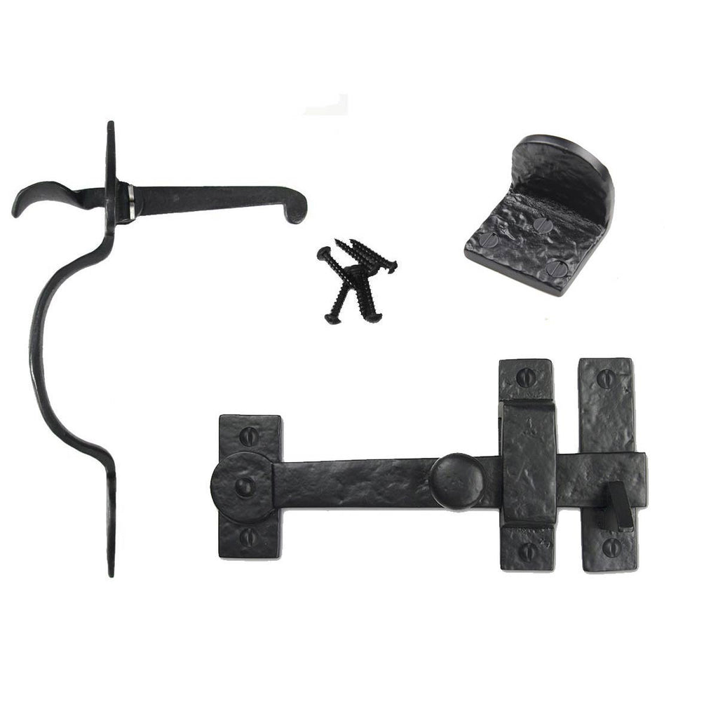 Cast Iron Heart Gate Kit - Drop Bar, Thumb Latch, & Gate Stop