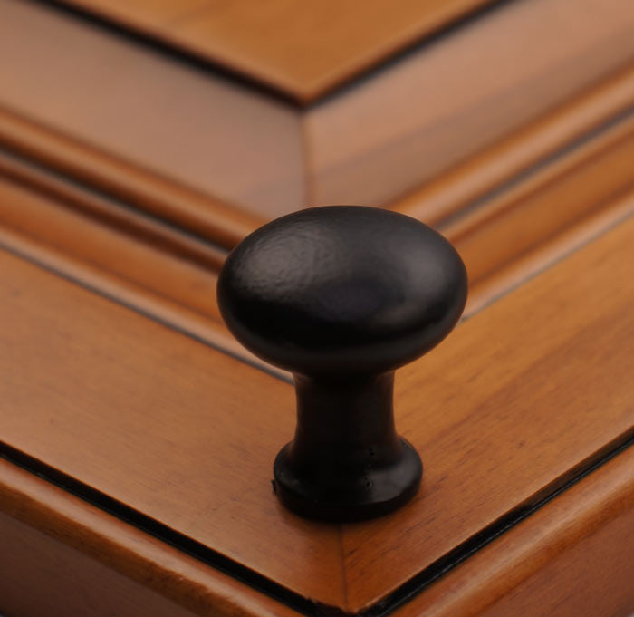 "1-1/8"" Tall Round Iron Cabinet Knob on Wood"