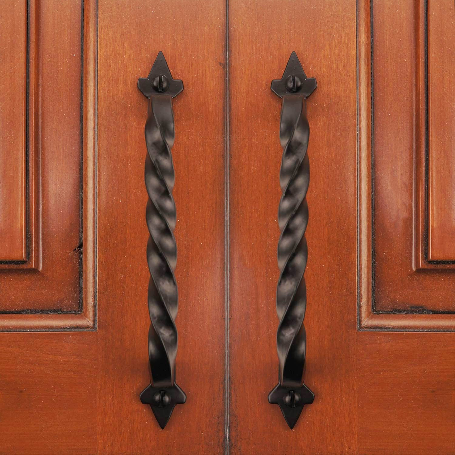 6 Ripple Cabinet Pull Handles Solid Cast Iron Pack of 5