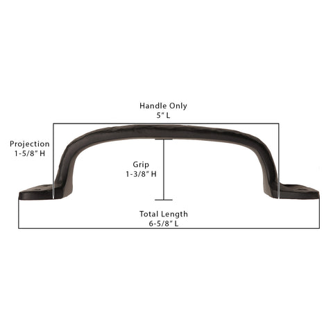 "Cast Iron 6-1/2"" Utility Door Pull - Grab Handle"