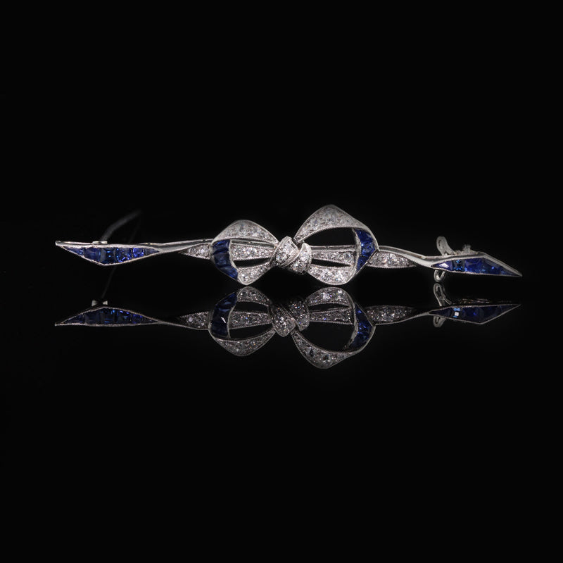 Antique Art Deco Platinum, Sapphire & Diamond Bow Bar Brooch