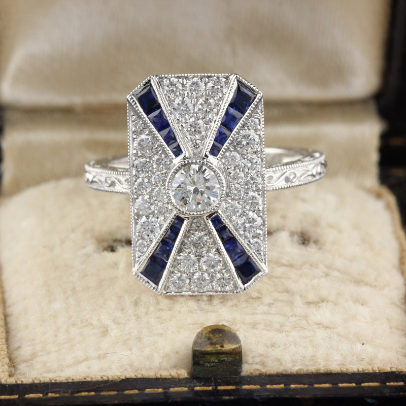 Art Deco Inspired 18K White Gold Sapphire & Diamond Ring - The Antique Parlour